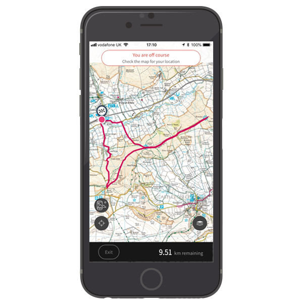 OS Maps app with route