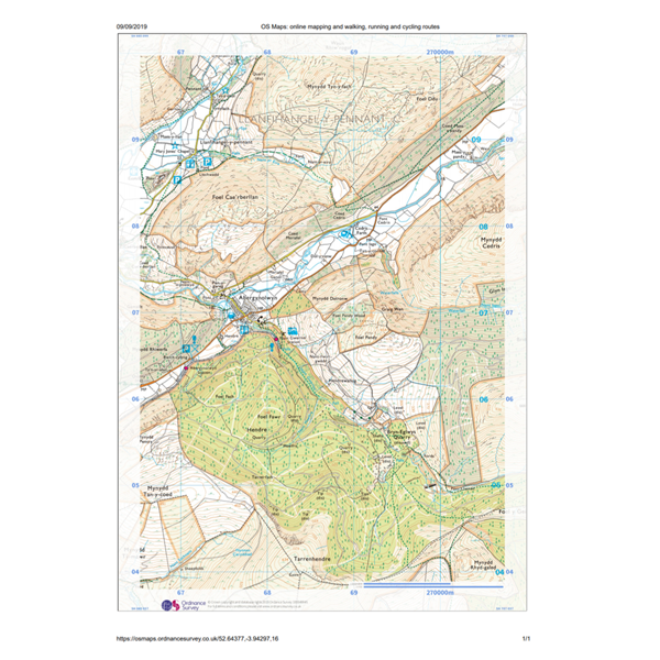 Printed paper map from OS Maps web