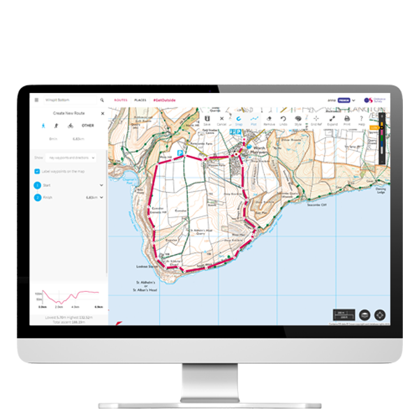 OS Maps web browser with route