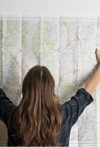 Person holding customised map